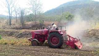 पिंपलोळी, जि. पुणे - येथील नीलेश शिंदे यांच्या शेतात भात लागवडपुर्व कामे सुरू आहेत.