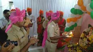 sendoff with plyaing dhol and lezim for ganapati in shivaji nagar pune