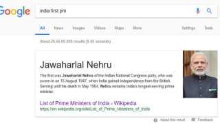 Here is India First Prime Minister Google Search is Showing Narendra Modi Photo