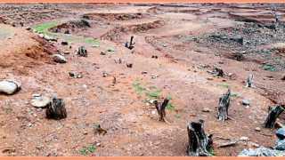 मुरूड - पाणीपातळी खालावल्याने घरांचे, मंदिरांचे, झाडांचे उघडे पडलेले अवशेष.