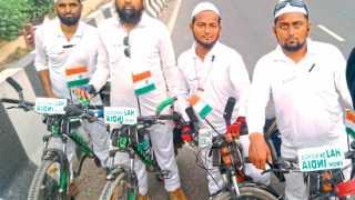 पुसद (जि. यवतमाळ) : दिल्ली मार्गावरील पुसदचे हज सायकलयात्री.