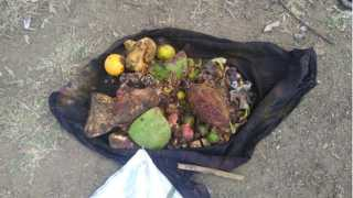 मलठण ( ता. शिरूर ) - ओढ्याजवळ झाडावर आढळलेल्या पिशवीतील जादुटोण्याचे साहित्य.