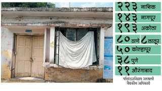 हिंगणा - तालुक्यातील प्राथमिक आरोग्य केंद्राच्या आंतररुग्ण विभागाची ही फाटकी लक्तरे. येथील खिडकीच्या काचा फुटल्याने, पावसाच्या सरींपासून बचाव करण्यासाठी लावलेले हे कापड.