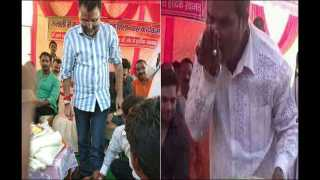 jharkhand bjp worker washes feet of mp nishikant dubey drinks same water