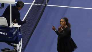 Serena Williams argues with umpire Carlos Ramos during her Women's singles finals match against