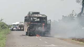 ST bus burn on Maratha reservation
