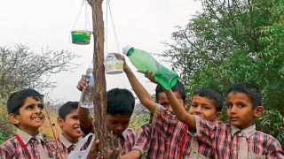 करंदी (ता. शिरूर) - जे. जे. इंटरनॅशनल स्कूलमध्ये उन्हाळी उपक्रमात पक्ष्यांसाठी धान्य व पाण्याची व्यवस्था करताना विद्यार्थी.