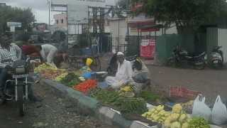 vegetable market  fills on footpath at Chinchwade Nagar