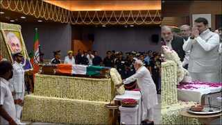 india former prime minister atal bihari vajpayee funeral and leaders workers pay tributes at bjp hq
