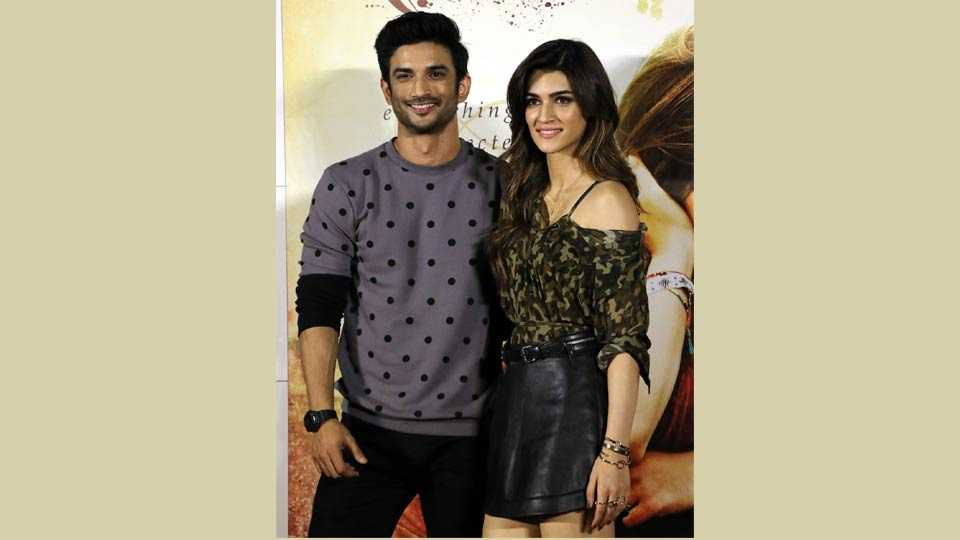 Mumbai: Bollywood actors Sushant Singh Rajput, Kriti Sanon, Jim Sarbh alogwith director Dinesh Vijay anad producer Bhushan Kumar at their trailer launch of film Raabta in Mumbai on Monday. Pics Prashant Sawant
