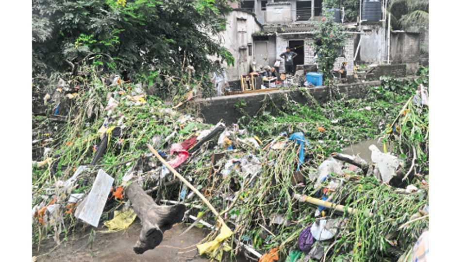 बुधवारी रात्री वाय. पी. पोवारनगर परिसरातील नाल्यावरून पाणी वाहून गेल्याने असा कचरा साठला.