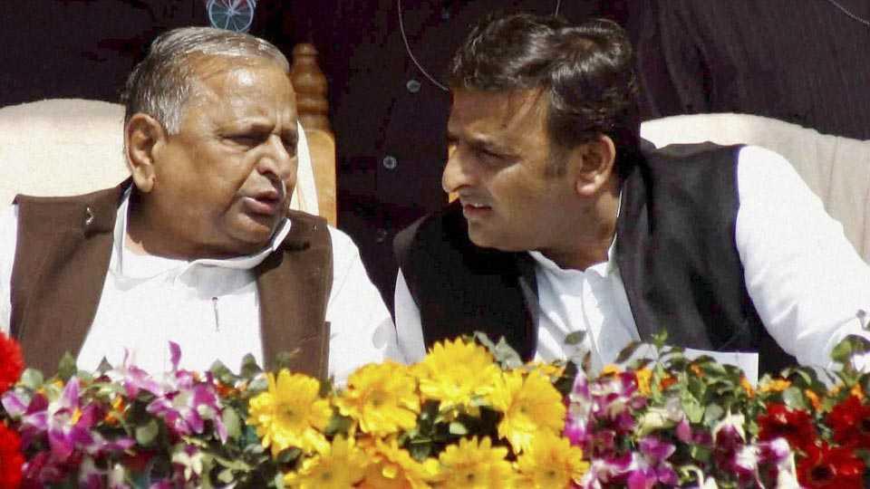 Mulayam Singh and Akhilesh Yadav
