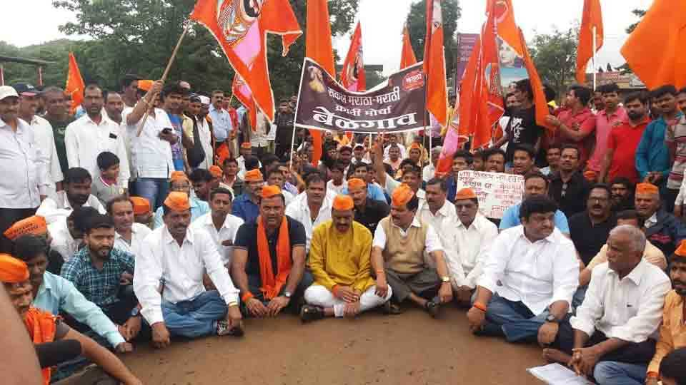 MarathaKrantiMorcha rally at shinoli taluka chandgad