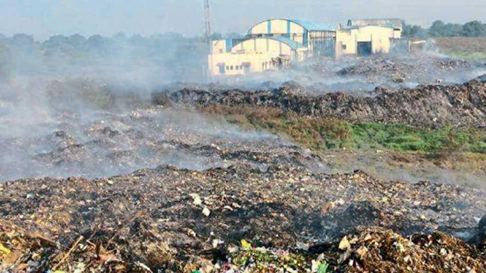 जळगाव - आव्हाणी शिवारात महापालिका कर्मचाऱ्यांनी जमा झालेला कचरा पेटविल्याने निर्माण झालेले धुराचे साम्राज्य.