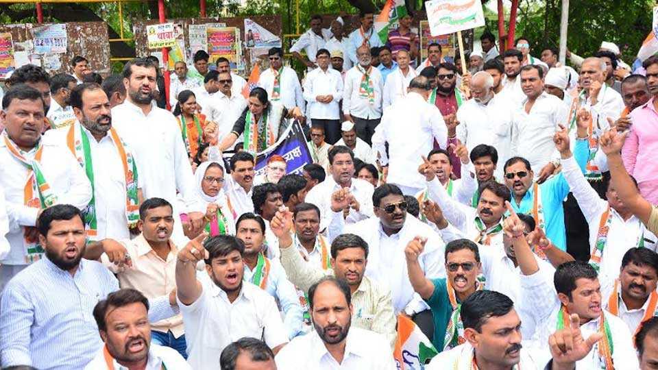Protest against Raosaheb Danve in Aurangabad