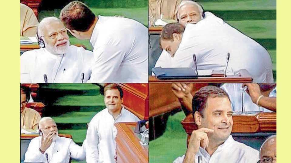 Rahul Gandhi Hugs Narendra Modi
