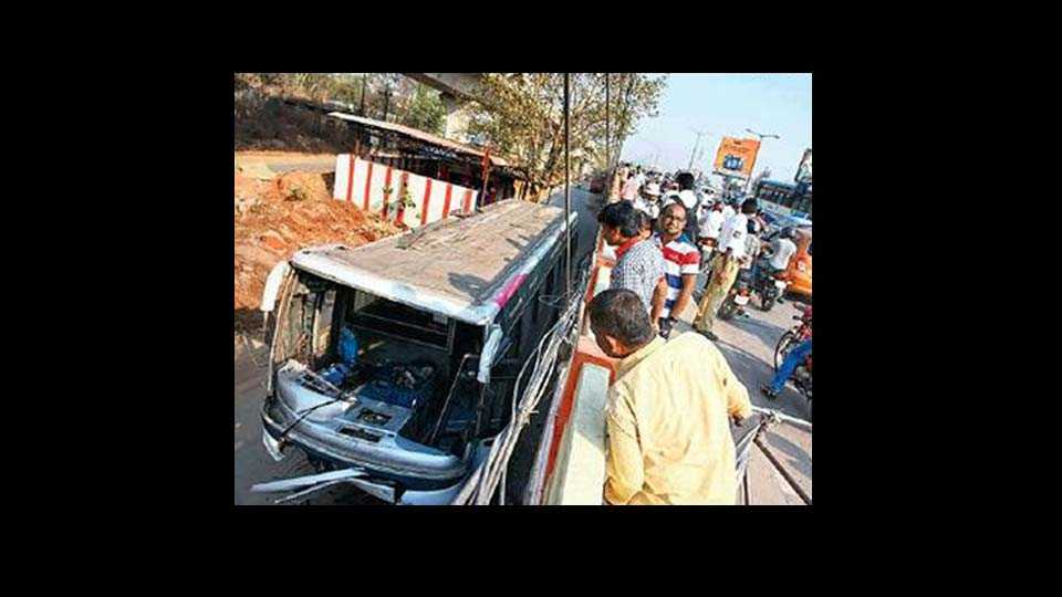 hyderabad news bus with 50 falls off bridge all safe