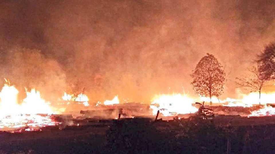 The Maoists burned firewood depo