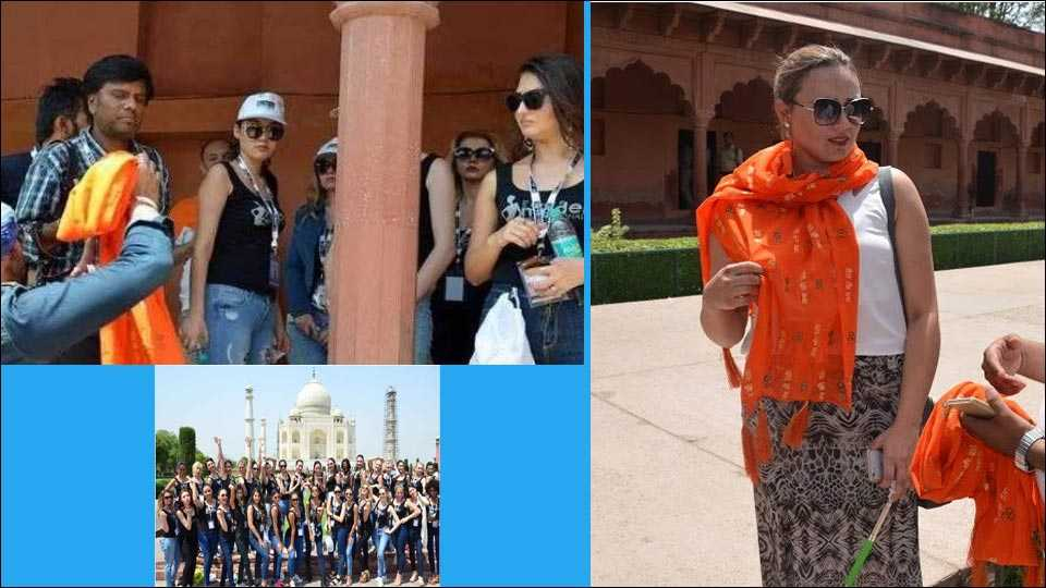 agra super models get entry in taj mahal by removing ramname dupatta