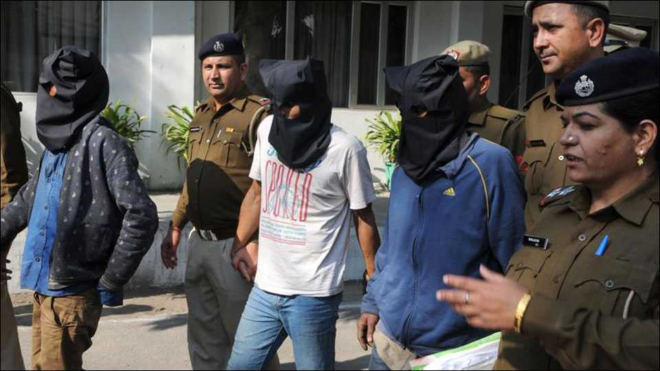 Police arrest Ejaz Malik, Mukhtar Ali, and Jalil Ahmed for gang rape and murder of a 10-year-old girl in Gurgaon on Monday.(courtesy:hindustantimes)