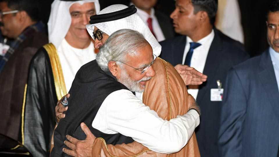 Narendra Modi and Sheikh Mohammed bin Zayed al-Nahyan