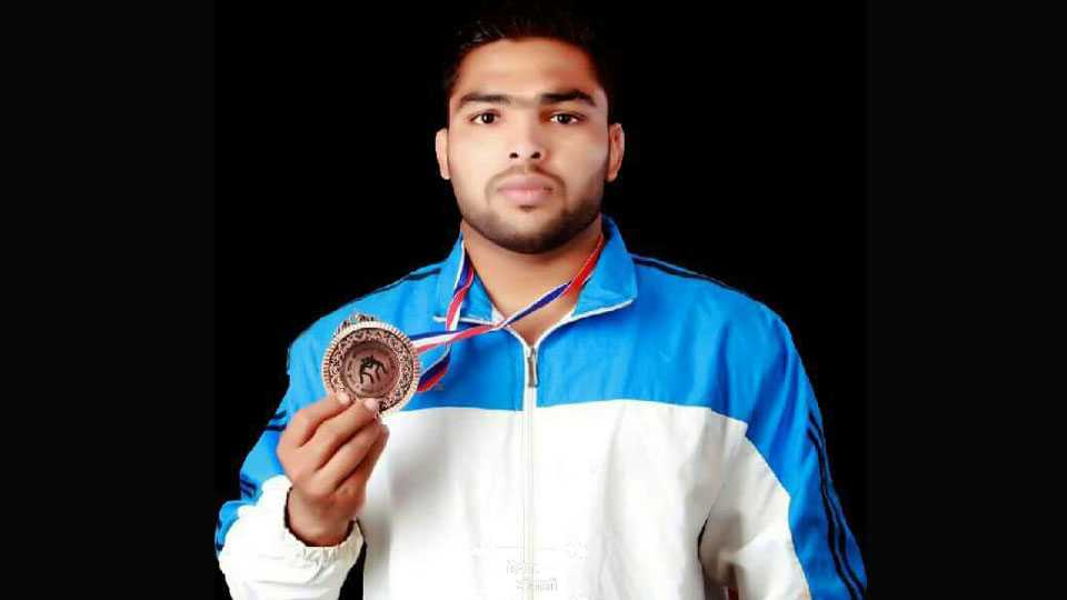 State level Wrestling Competition Dinesh Mokashi won Gold Meddle