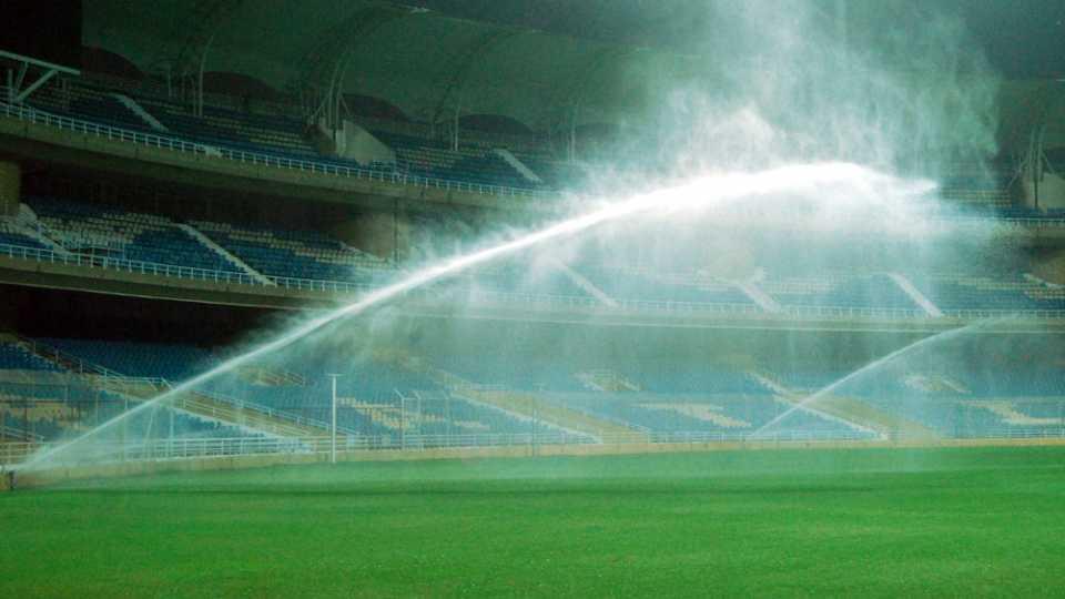 Water Sprinkling at cricket stadium in Mumbai