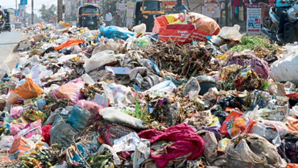 औरंगाबाद - पुंडलिकनगर रस्त्यावर दुभाजकामध्ये कचऱ्याचे असे ढीग लागले आहेत.
