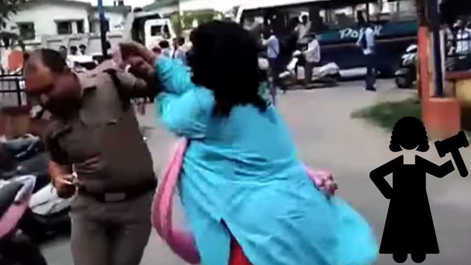 Marathi news lady judge assaulted cop viral video