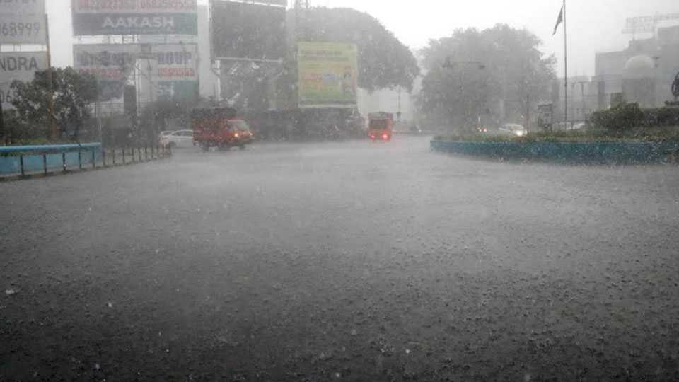 Pre-monsoon rain in Pimpri city