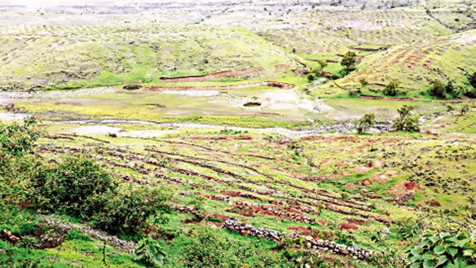 औंध (घाटमाथा ) - येथील डोंगरमाथ्याच्या पायथ्याला असणारा तलाव अद्याप पावसाअभावी कोरडा ठणठणीत आहे.