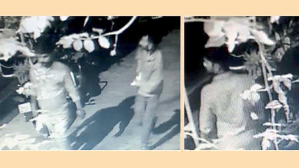 औरंगाबाद - विष्णूनगर येथे चोरीसाठी घरात प्रवेश करताना सीसीटीव्ही कॅमेऱ्यात कैद झालेले संशयित.