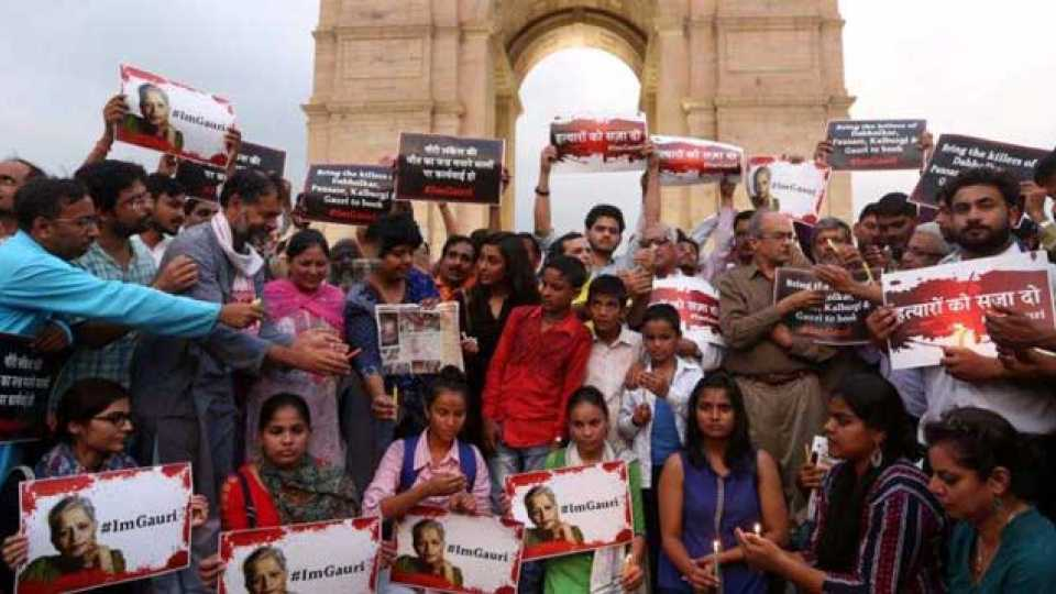 Gauri Lankesh protest in Delhi