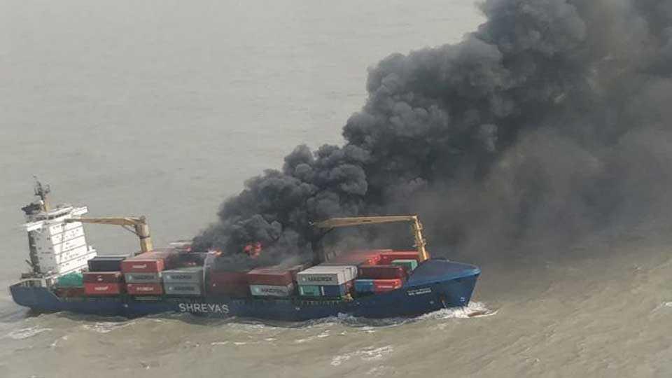 in kolkata merchant ship on burning