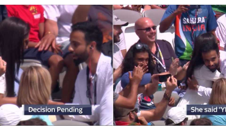 Boy proposes a Girl in middle of Eng vs Ind 2nd ODI