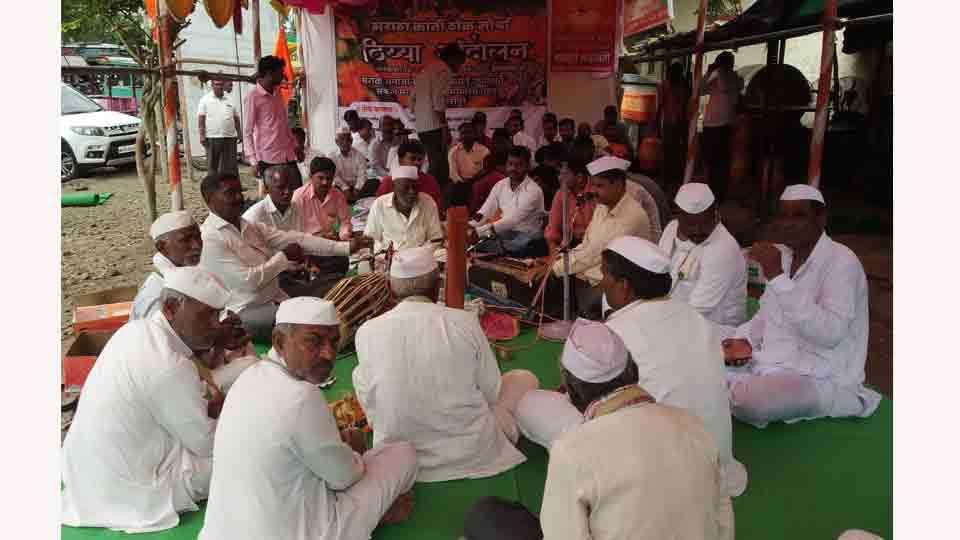 MarathaKrantiMorcha Thiyya Agitation at Sangola tehsil office solapur