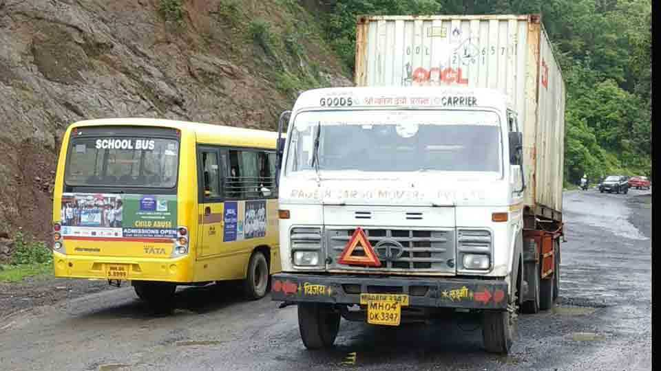 Container stoped at Sukeli on Mumbai Goa highway