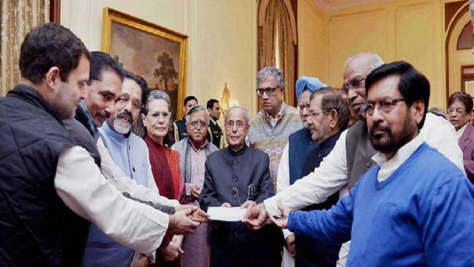 opposition parties leaders meet president Pranab Mukherjee