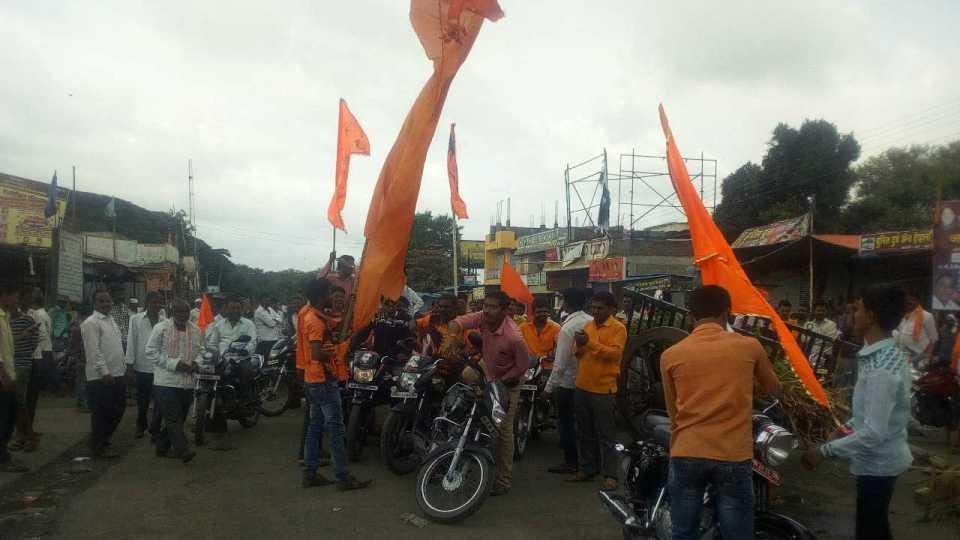 Maratha Kranti Morcha : maratha agitation road block in valandi