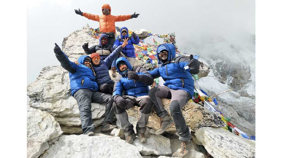 Seven people along with the assistant commissioners successfully climb the Everest base camp