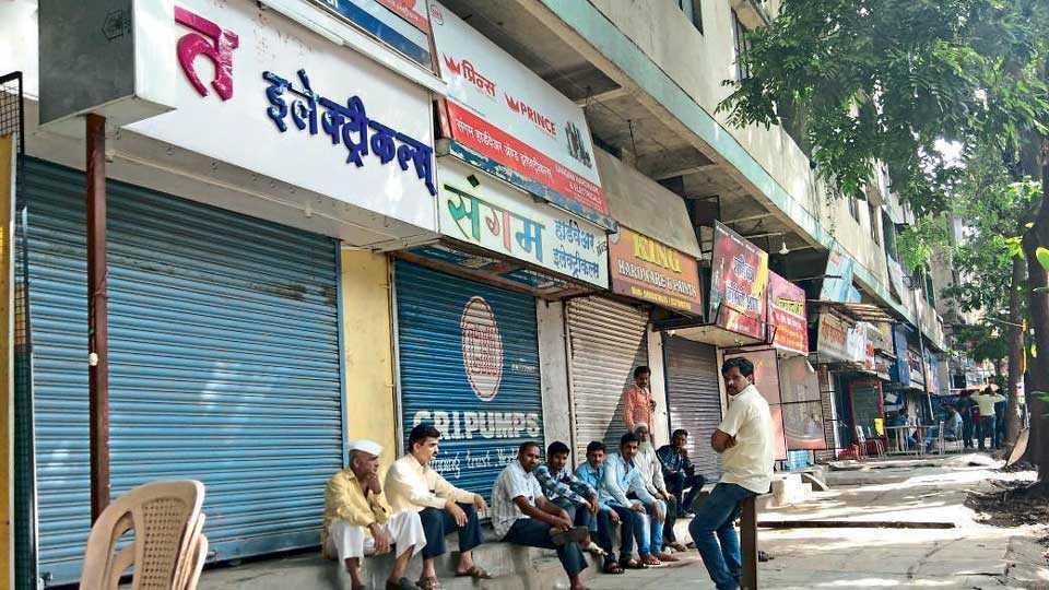 Shutdown of businessmen protesting against plastic action