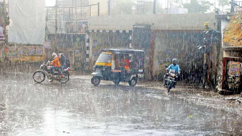 भुसावळ -लोखंडी पुलाजवळील बाजारपेठ पोलिस स्टेशनसमोरील चौकात पाऊस कोसळतानाचे दृश्य.