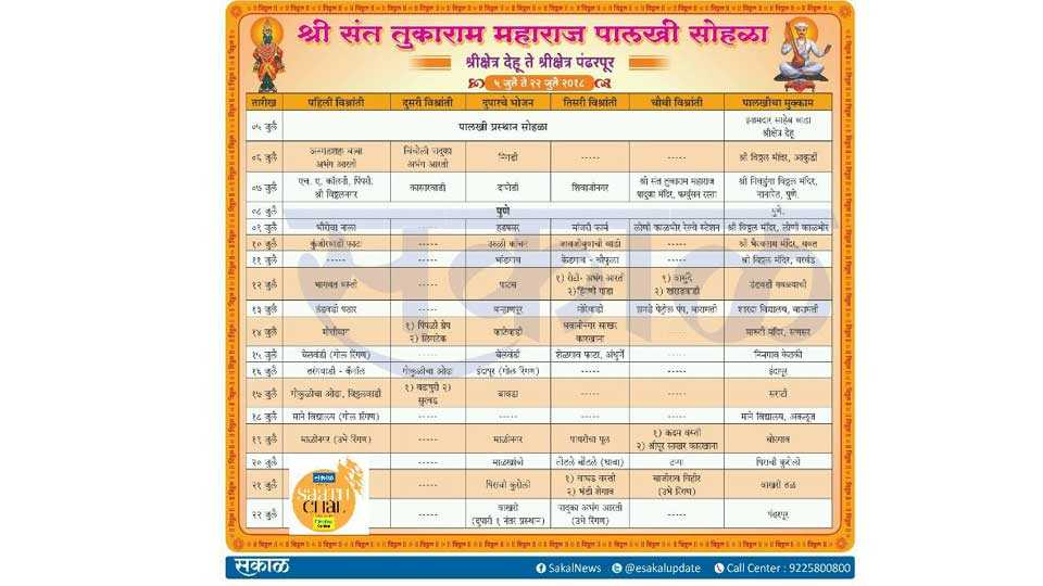 #SaathChal  Sant Tukaram Maharaj Palkhi Timetable 2018 Pandharichi Wari
