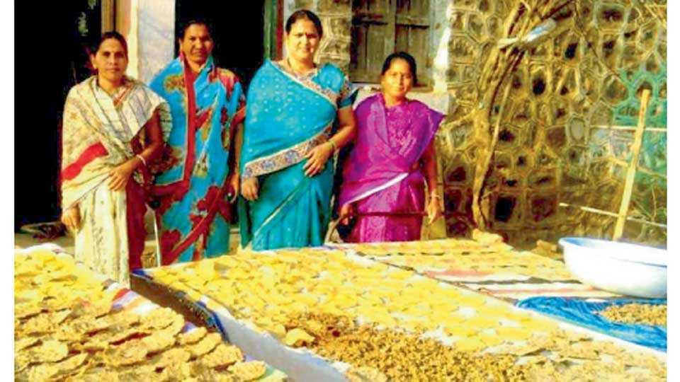 पैठण - महिलांनी बनविलेले उन्हाळ्यातील विविध खाद्यपदार्थ.