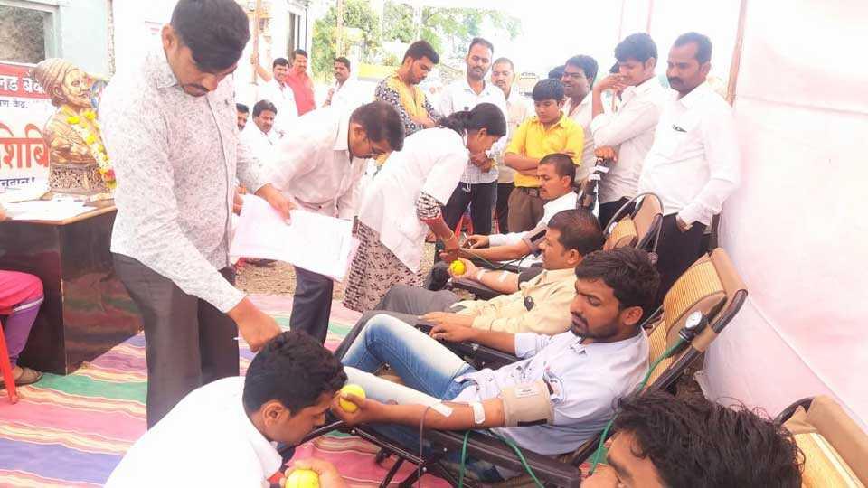 MarathaKrantiMorcha Blood donation agitation for the demand for reservation