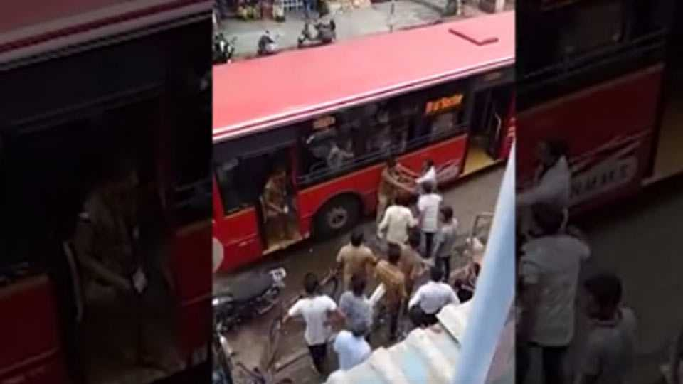 auto driver beaten bus driver and conductor