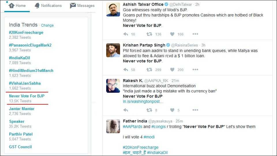 Never Vote For BJP trend on twitter