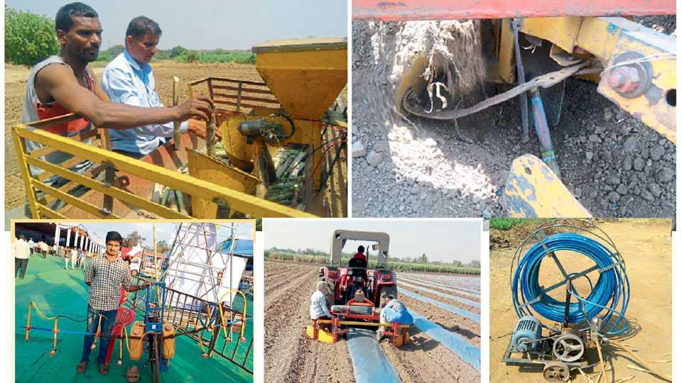 Sugarcane planting machine