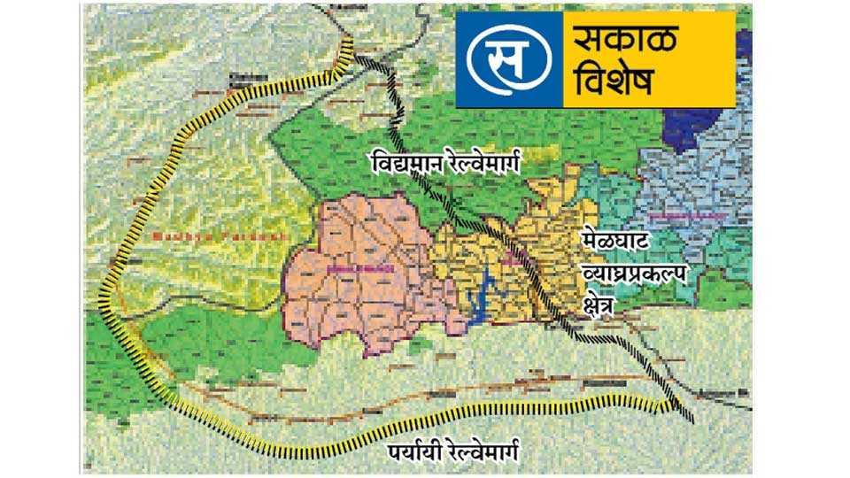 अमरावती - अकोला-खंडवा रेल्वेमार्गाचा विद्यमान व सुचवलेल्या पर्यायी मार्गाचा नकाशा.