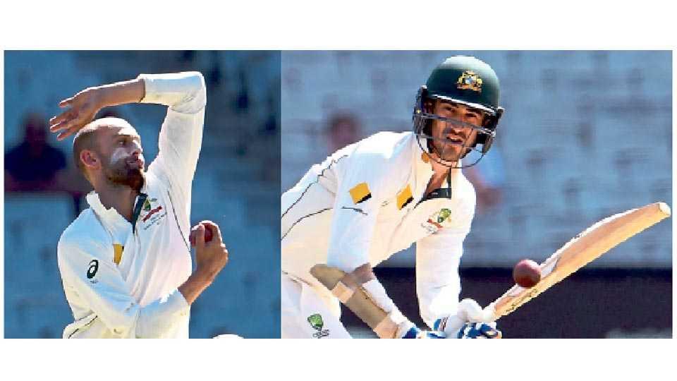 नेथन लायन - महत्त्वाच्या फलंदाजांची विकेट. तर दुसऱ्या छायाचित्रात पाकिस्तानविरुद्ध दुसऱ्या कसोटी क्रिकेट सामन्यात शैलीदार फटका मारताना ऑस्ट्रेलियाचा फलंदाज मिचेल स्टार्क.